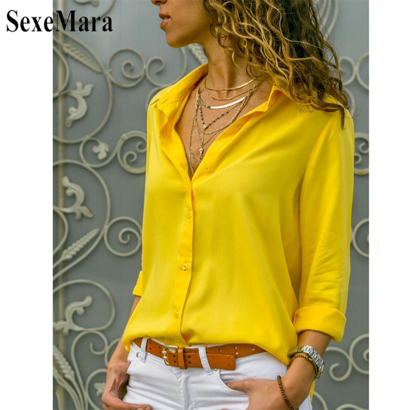 c1eb3276c2c719 2019 Fashion Women Long Sleeve Office Work Blouse Button Down White/Yellow/Red  OL