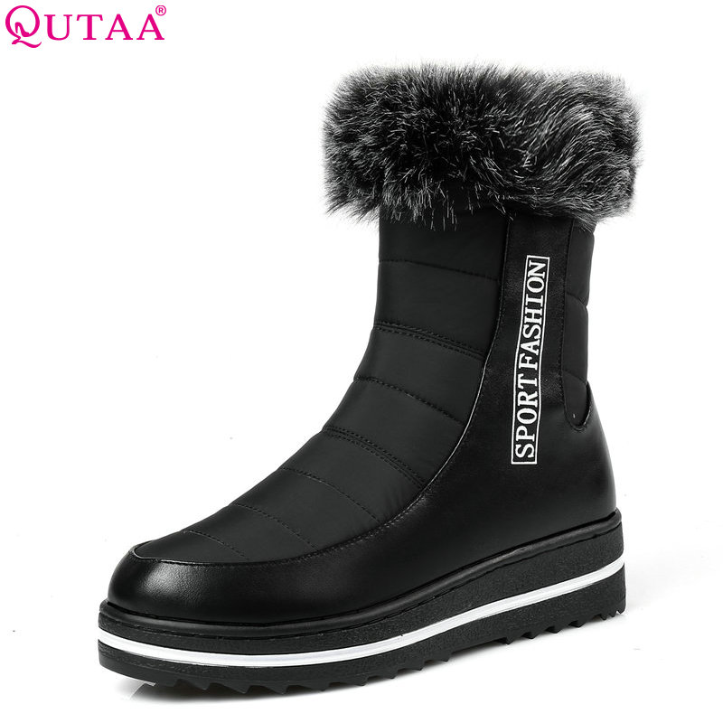 QUTAA 2017 Women mid calf  Boots Pu Leather Winter Keep Warm Round Toe Snow Boots Wedges Heel Women Boots Size 35-43 prova perfetto winter women warm snow boots buckle straps genuine leather round toe low heel fur boots mid calf botas mujer