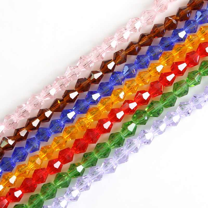 3/4/6 Mm Mix Crystal Warna Bahasa Swedia Glass Spacer Longgar Beads untuk Perhiasan Membuat Grosir Manik-manik kalung Gelang 50-150Pcs