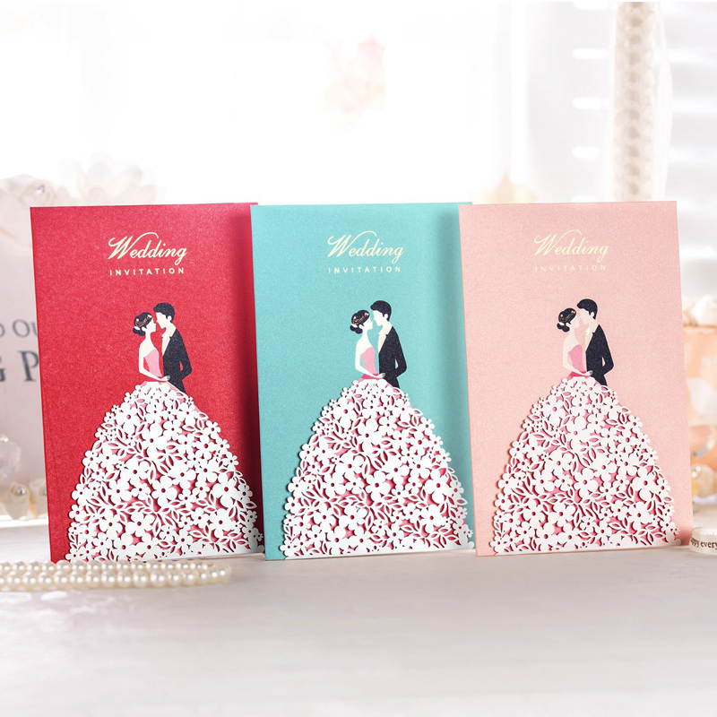 100 pieces lot Wholesale Red Pink Bride Groom Wedding Invitation Laser Cut Flower Customized Print