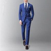 Men's suit men's solid color fashion slim suit two piece suit (jacket + pants) men's business casual suit support customization