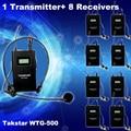 Бесплатная Доставка! 1 шт. Передатчик + Приемник 8 шт. Оригинал Takstar WTG-500 UHF PLL Беспроводной экскурсовод система голосовой обучения устройство