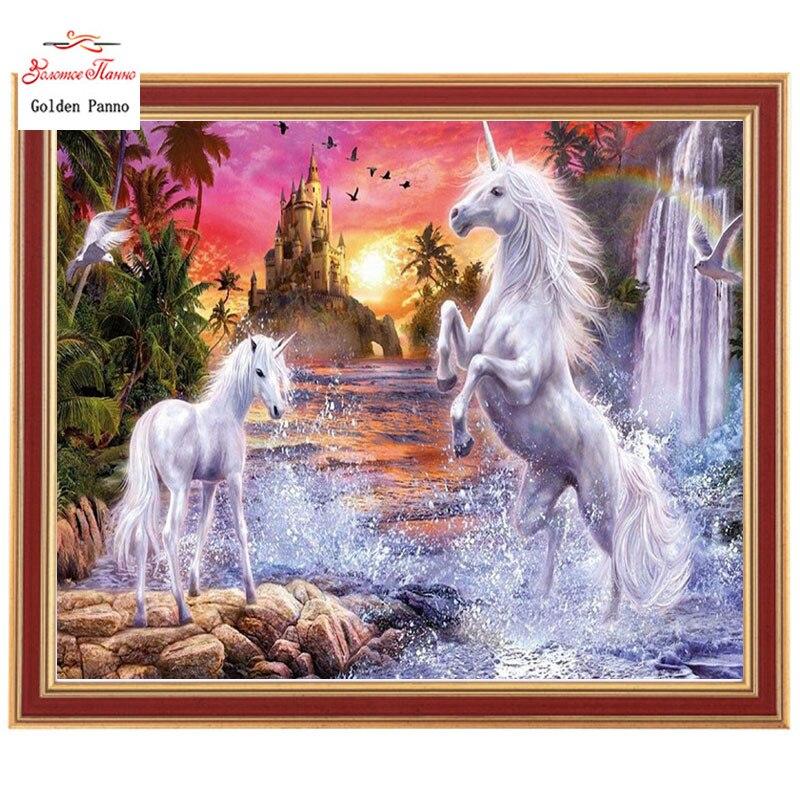 Золотой панно, 5D, diy Алмазная вышивка, полная, квадратная, алмазная живопись, вышивка крестом, 3D, алмаз, мозаика, рукоделие, Речная лошадь 725
