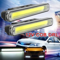 2Pcs Universal Daytime Running Light LED COB 12V DRL Auto Car Driving Front Fog Lamp White