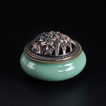 Ceramic incense burner three-legged celadon antique furnace Holding religious buddha free shipping