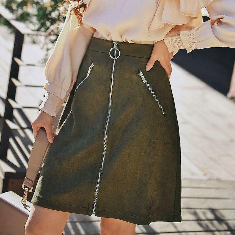 Dabuwawa Women Skirt 2019 New Lady Vintage Army Green Zippers Mini High Waist Slim Women A-line Skirt
