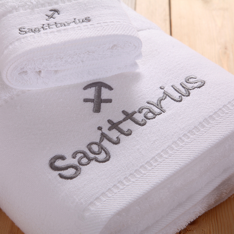 Luxury Twelve Constellations Letter Embroidery 3Pcs Towel Set 100 Combed Cotton 1pc Bath Towel 1pc Face