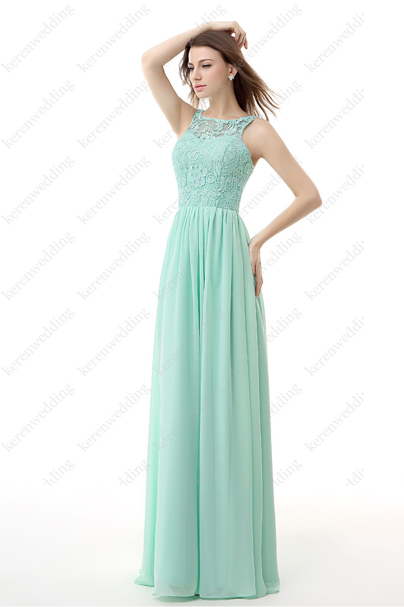 5ca74fedc202 Simple But Elegant Open Back Chiffon And Lace A Line Custom Made Long  Bridesmaid Dresses Turquoise AL21-in Bridesmaid Dresses from Weddings    Events on ...