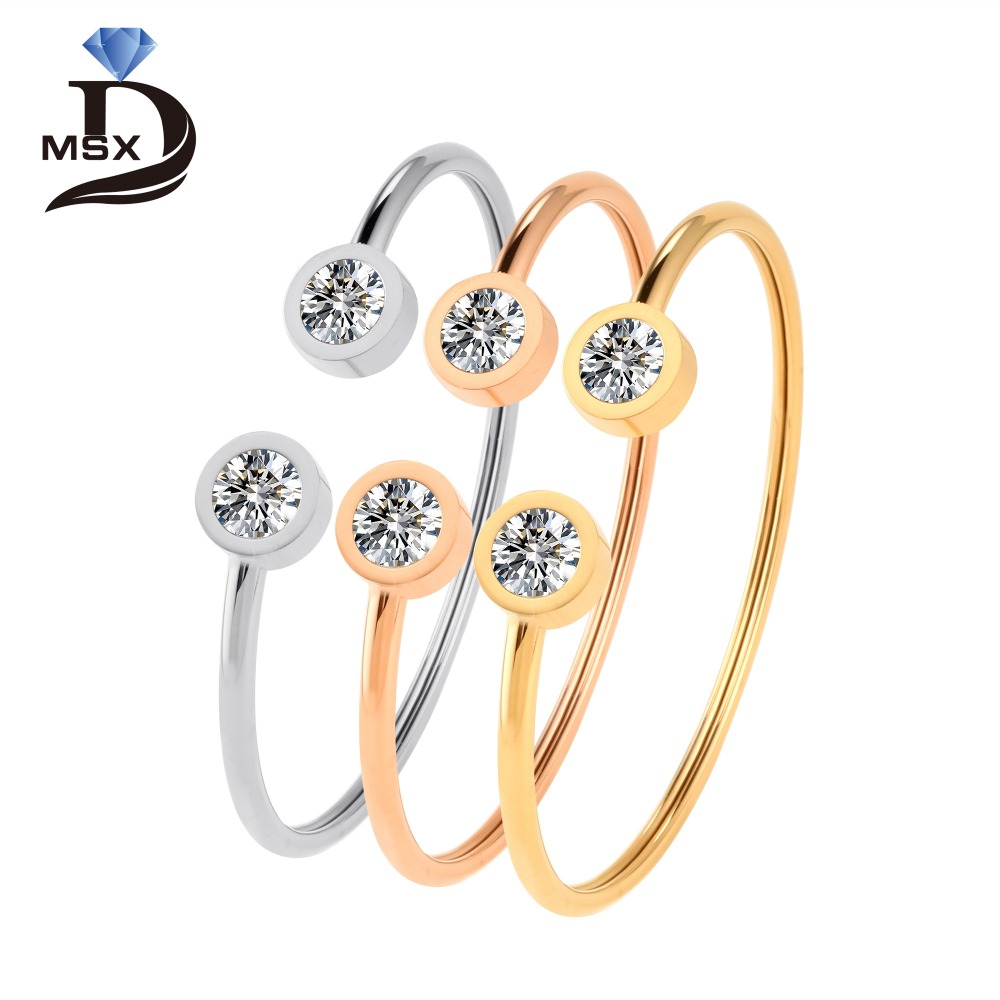 Rose Gold Open Cuff Bangles and Bracelet for Man Woman With Rinestone 3 Metals Colors Twistable Wrist Band Fashion Jewellery