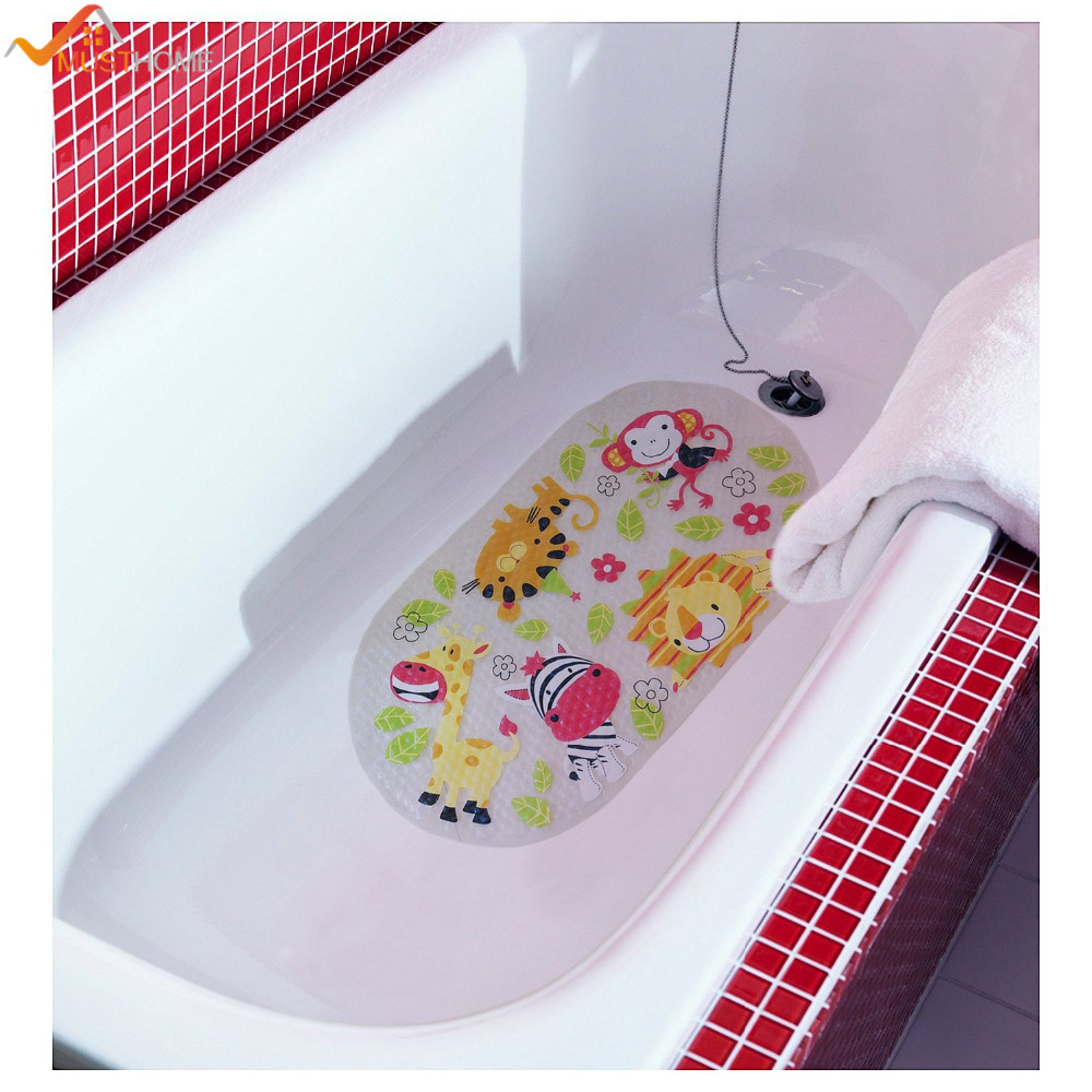39cmx69cm non slip baby bath mat for children shower bathtub kids mat with suction cups in bath. Black Bedroom Furniture Sets. Home Design Ideas