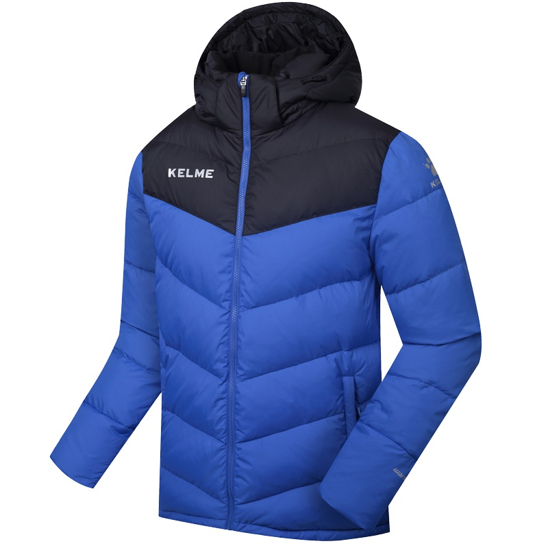En gros 2016 Kelme K090S hommes moyen-long à capuche hiver garder au chaud manteau entraînement Sport Football doudoune bleu