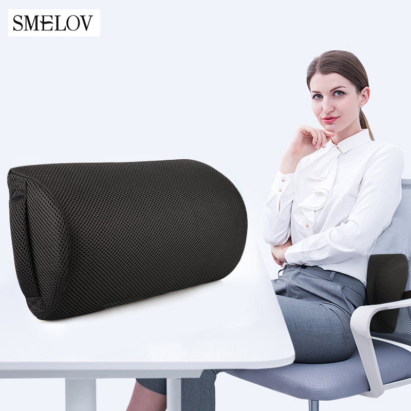Semi-Roll Lumbar Pillow Cushion Lumbar Support For Office Chair Back Waist Pain Relief Pillow Car Lumbar Cushion Pillow Bolsters