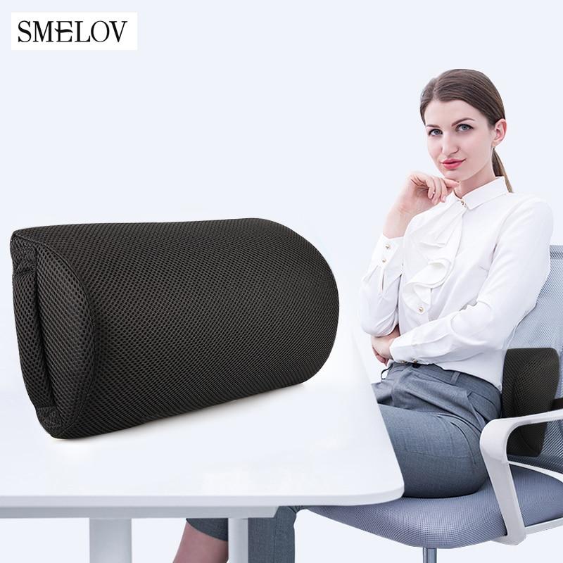 Semi-Roll Lumbar Pillow Cushion Lumbar Support For Office Chair Back Waist Pain Relief Pillow Car Lumbar Cushion Pillow Bolsters