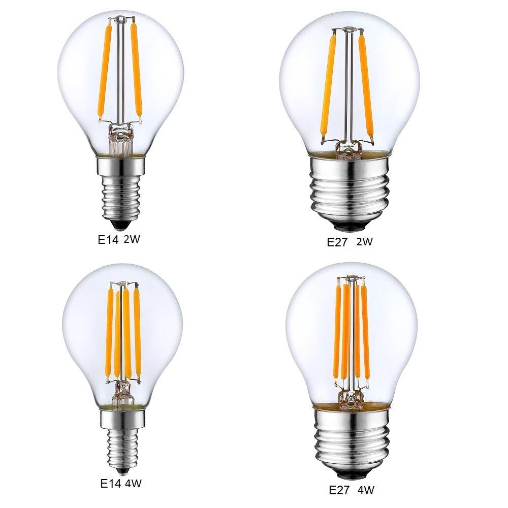 Dimmable E14 E27 G45 Retro LED Filament Light Globe Bulb 1W 2W 4W Edison Vintage Ampoule