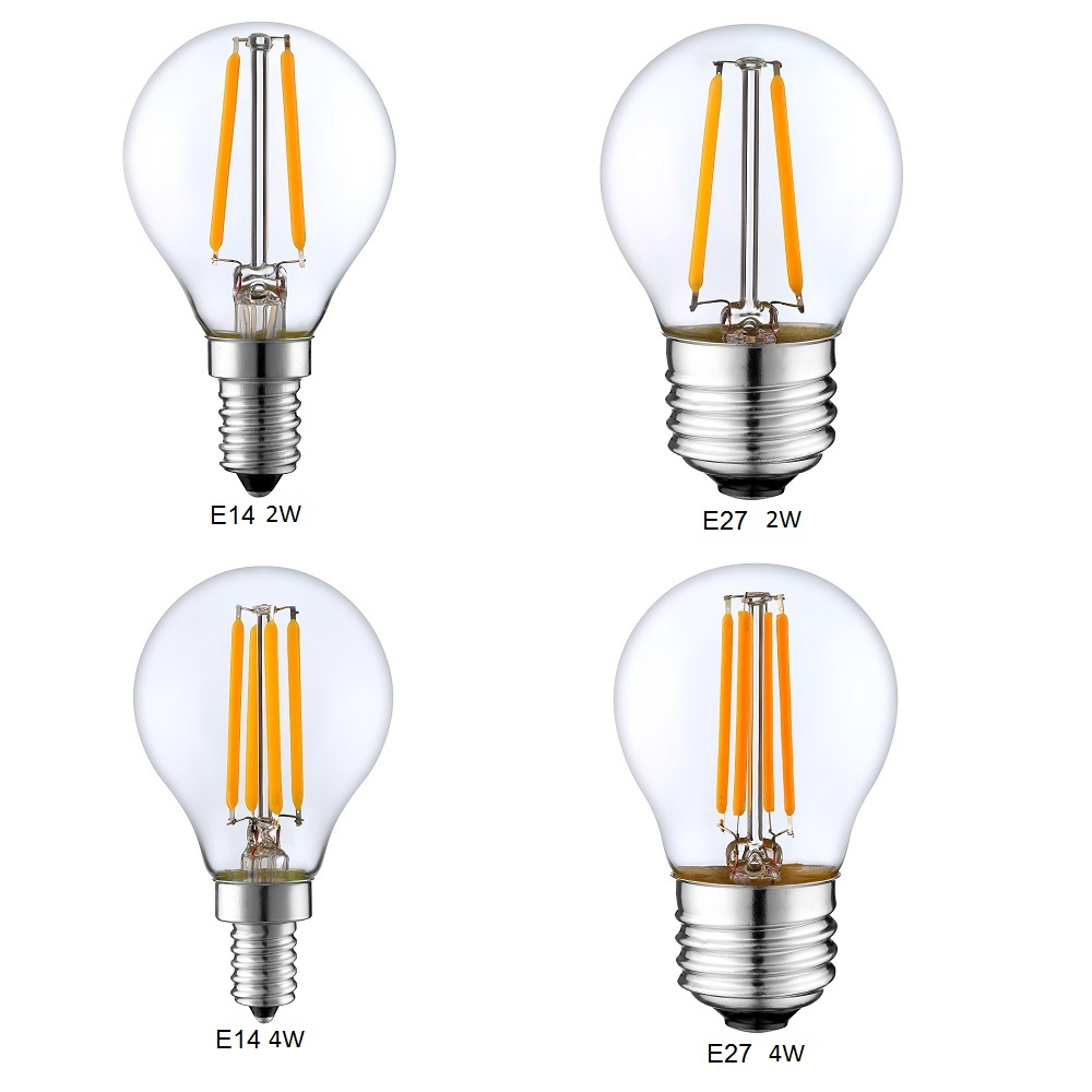 Retro LED Filament Light Dimmable E14 E27 G45 A60 Globe Bulb 1W 2W 4W 8W 10W