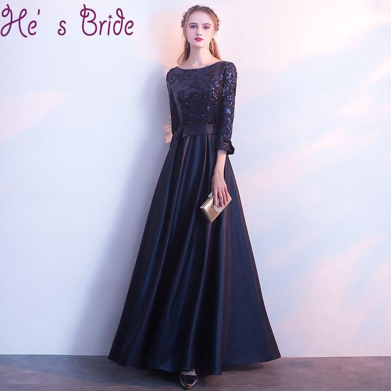 Evening Dress Elegant Dark Blue Robe De Soiree Scoop Neck 3/4 Sleeves Zipper Back A Line Lace Satin Sequines Party Prom Dress