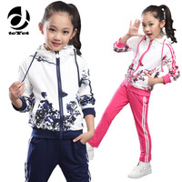 New Girl Tracksuits Costume Winter Girls Sport Suit Hooded+Pants Kids Clothes Floral Sweatshirts Tracksuits Clothing Sets