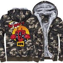 Deadpool cartoon print cotas winter warm wool liner Men jackets long sleeve male hip-hop hoodies 2019 thicken zipper sweatshirts