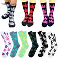 2016 Fashion Women's Men's Unisex Cotton Socks Harajuku Hip Hop Vintage Retro Plant Maple Leaf Casual Long High Sock
