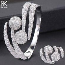 GODKI Luxury DISCO Ball แอฟริกาไนจีเรียแหวนกำไลชุดเครื่องประดับอินเดียชุดสำหรับงานแต่งงาน brincos Para AS mulheres