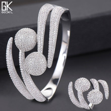 GODKI Luxury Disco Ball African Nigerian Bangle Ring Sets Indian Jewelry Sets For Women Wedding brincos para as mulheres