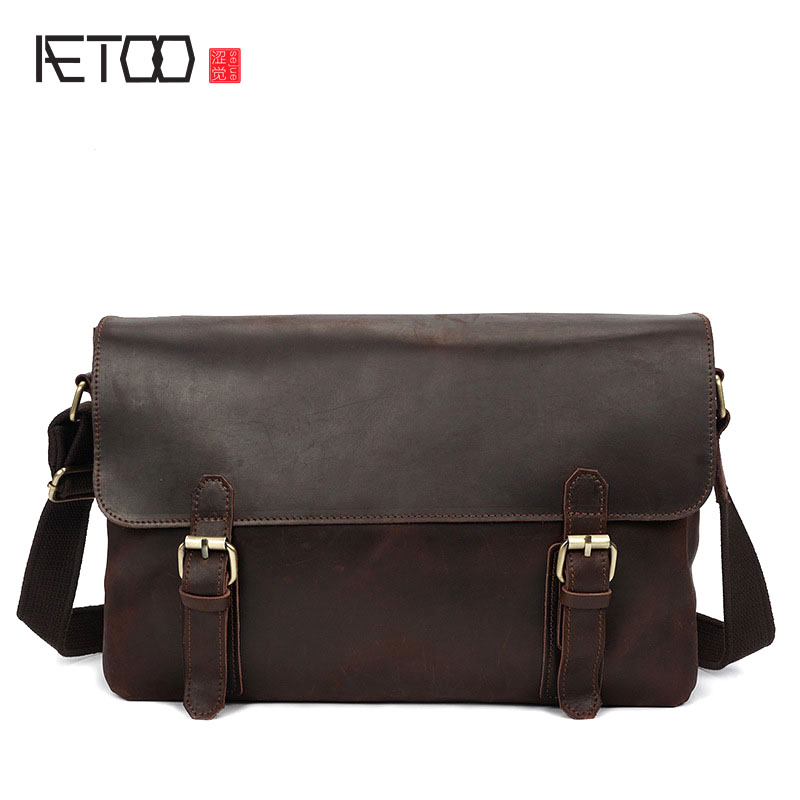 AETOO Crazy horse skin men bag tide package retro Messenger bag head cowhide male leather bag shoulder bag aetoo the new retro mad horse skin backpack fashion shoulder shoulder leather package tide package