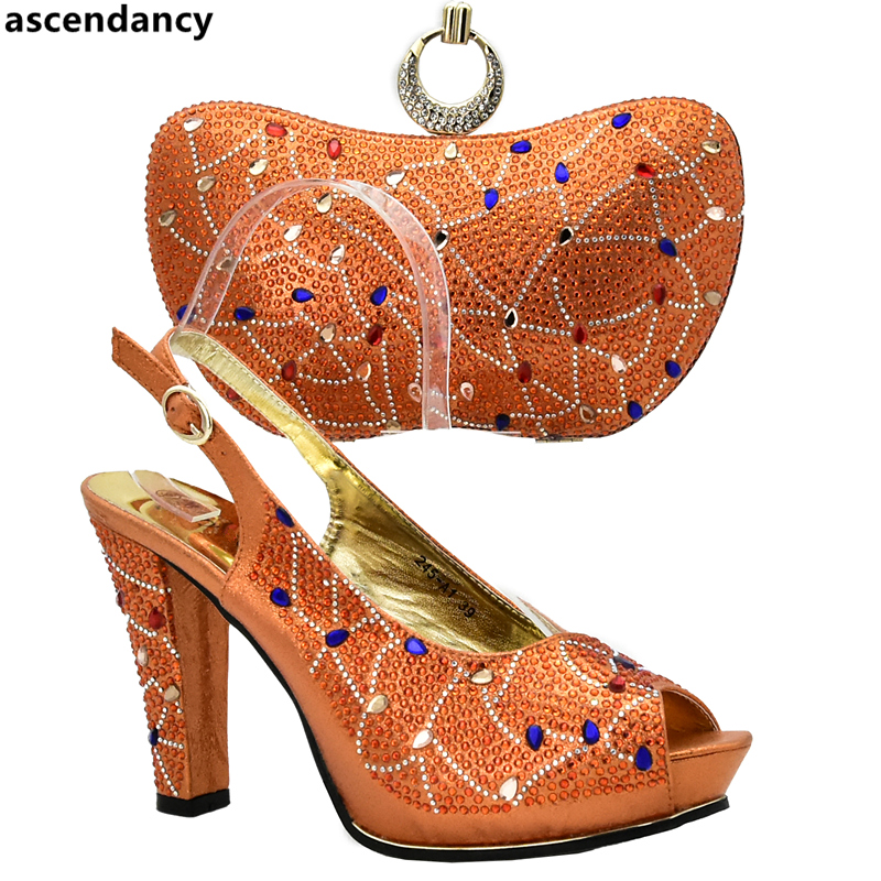 Latest Orange Color Nigerian Party Shoe And Bag Sets Italian Shoes And Bags Set Envio Gratis Shoe And Bag Set For Party In Women