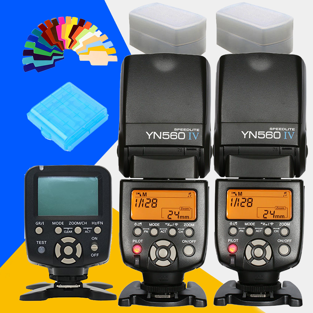 YONGNUO YN560IVx2 YN560 IV YN560-IV YN-560 IV + YN560TX YN-560TX Master Speedlite Flash Controller Speedlight For Canon Nikon yongnuo yn 560 iv yn560 wireless ttl hss master radio flash speedlite 2pcs rf 605c rf605 lcd wireless trigger for canon camera