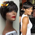 Short Human Hair None Lace Wig Virgin Straight Brazilian Human Hair Wig With Bang Glueless None Lace Hair Wig For Black Women