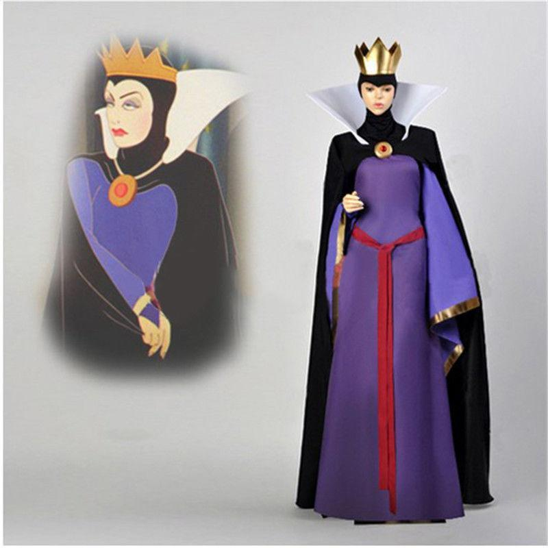 Snow White Evil Queen Stepmother Costume Dress Outfit Halloween Cosplay Adult with Crown Free Shipping