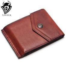 TAUREN Vintage 100% Genuine Leather Men Hasp Wallet Mens Retro Wallet Short Dull Red Color Change Purse Coin Purse