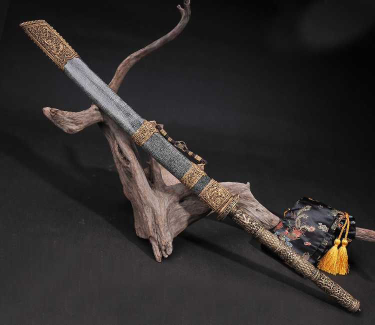 handmade chinese swords real swords copper sharkskin clay