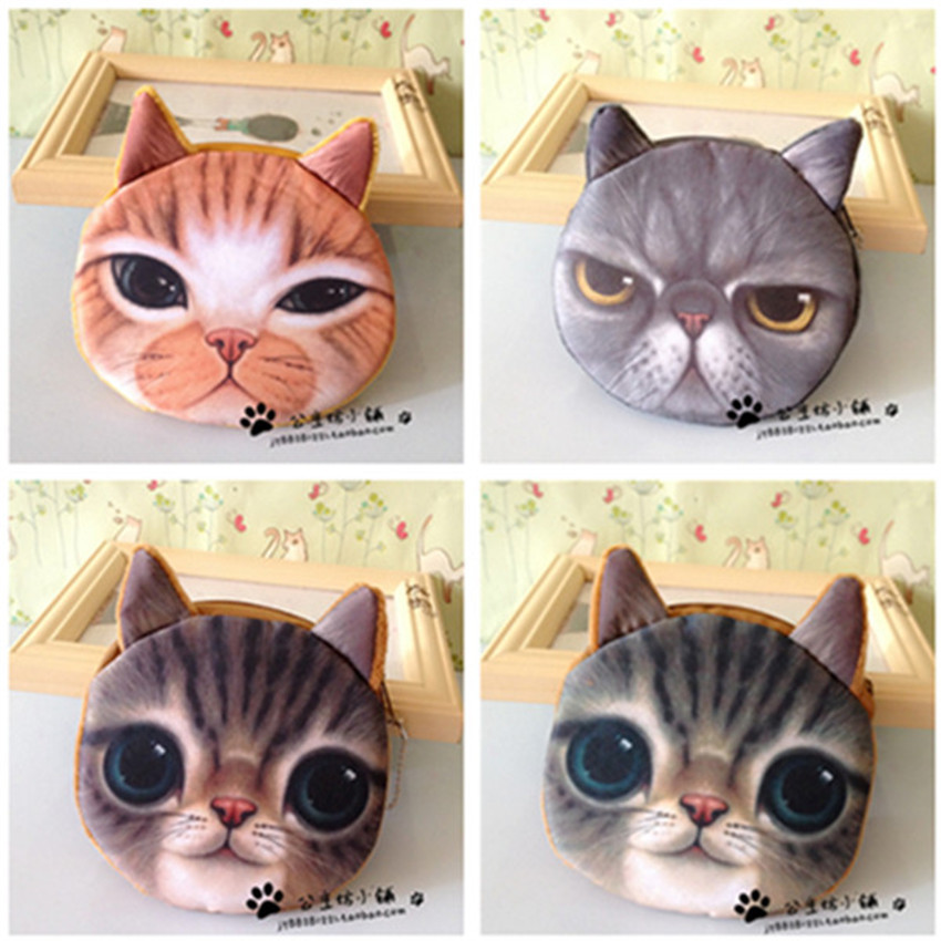 Children's Cat face wallet bag Grils zipper mini coin purses purse plush bolsa de moeda coins pouch monedero gato