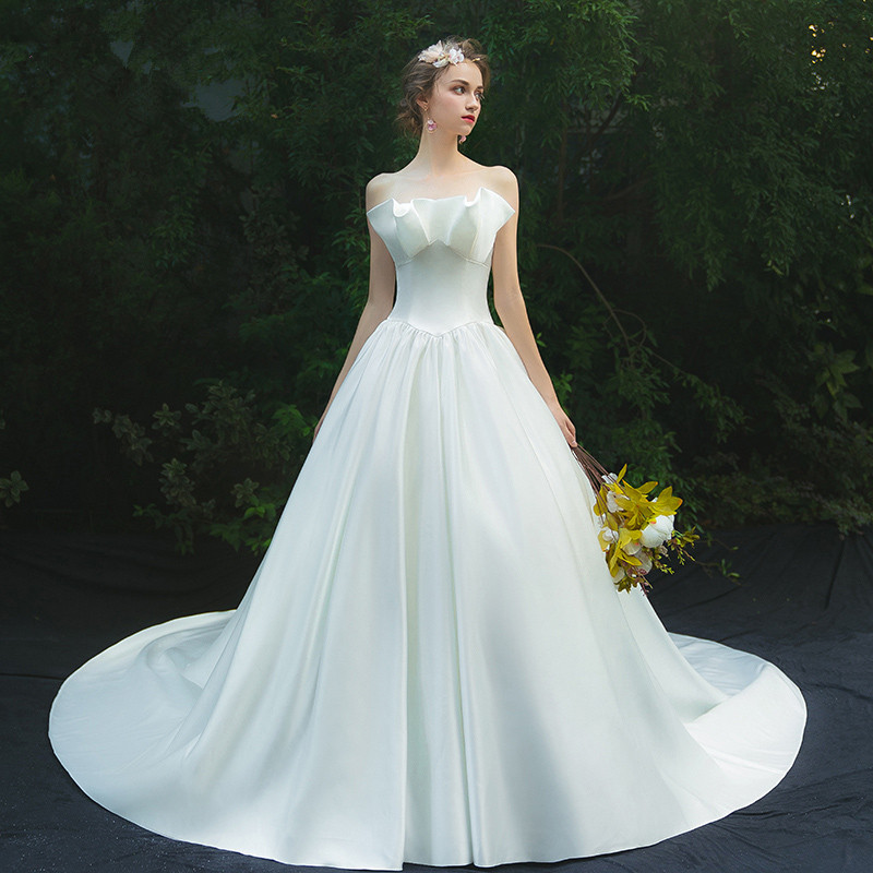 Ruthshen Luxury Simple Elegant Bridal Gowns A Line Robe