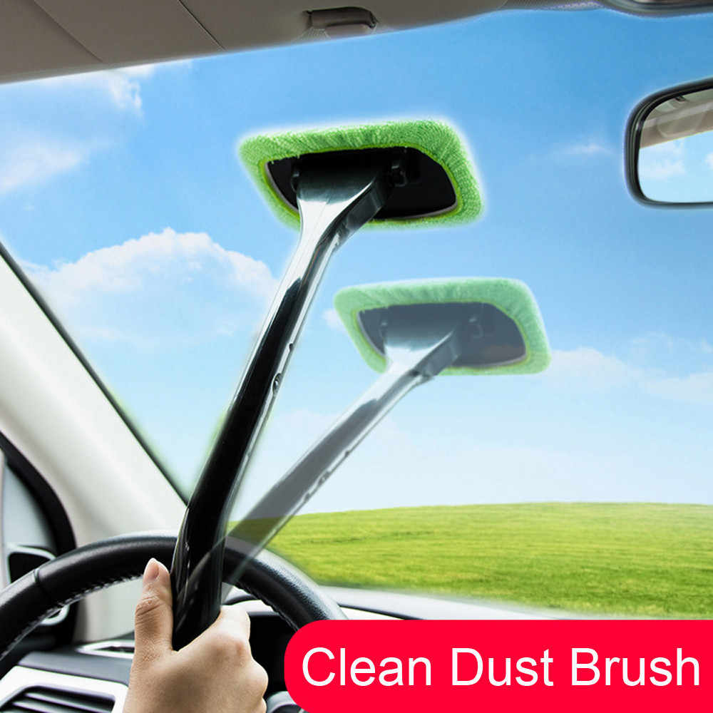 Auto Window Cleaner Windshield Windscreen Microfiber Car Wash Brush Dust Long Handle Car Cleaning Tool Car Care Glass Towel