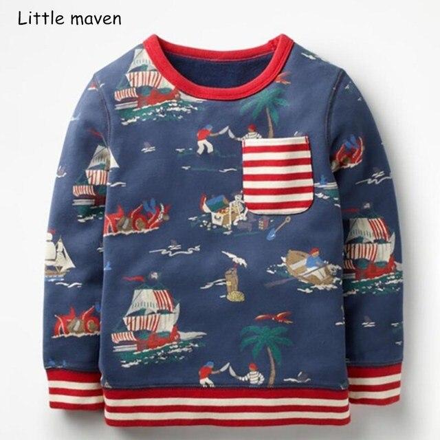 Poco maven dei bambini del bambino di marca dei vestiti del ragazzo 2018  autunno nuovi ragazzi a maniche lunghe in cotone di stampa barca t camicia  C0108 021eade67ad