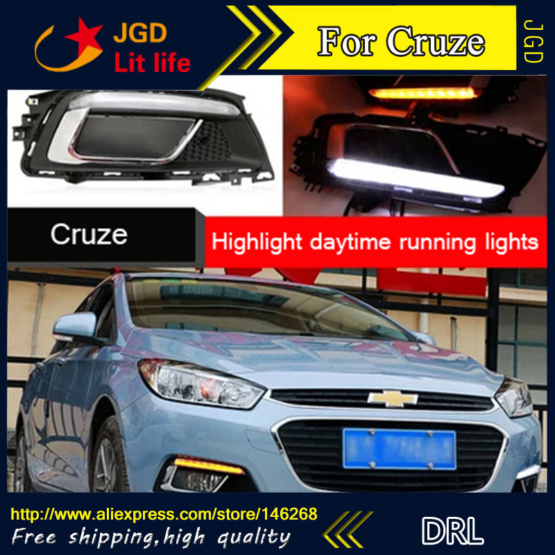 Free shipping ! 12V 6000k LED DRL Daytime running light for Chevrolet Cruze 2015 2016 fog lamp frame Fog light