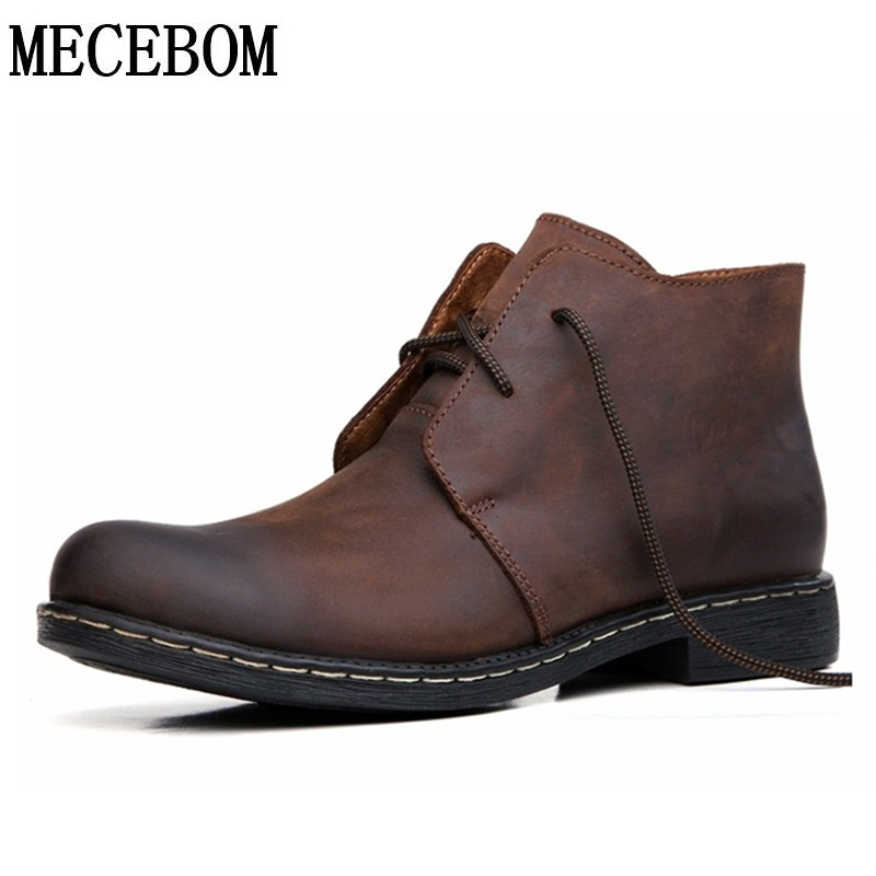 Men's Leisure Boots Leather New winter fur warm ankle boot botas men casual cow leather shoes brown big size 38-47 208m big size winter warm leisure shoes