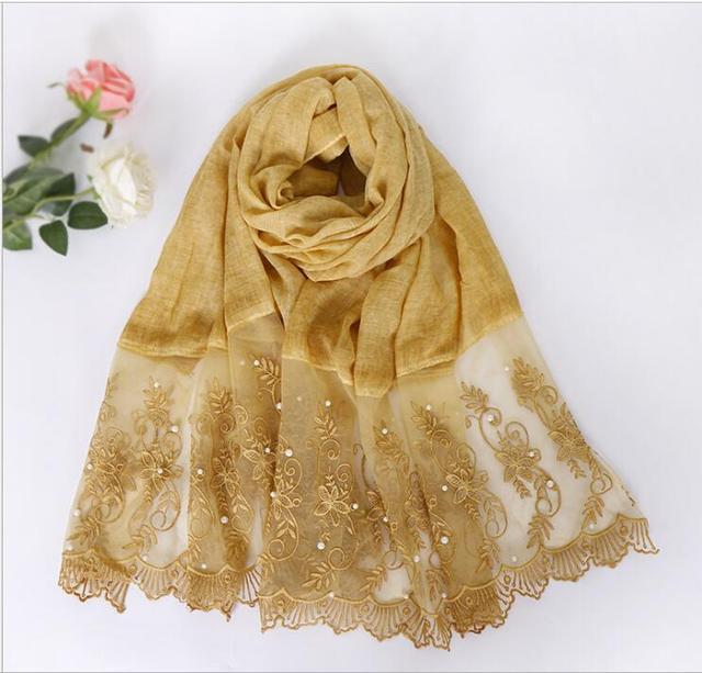 однотонный цветной кружевной шарф с жемчужинами мусульманская фотография
