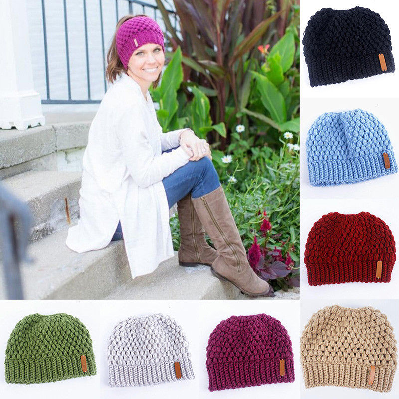 Women Warm Knitted Solid Winter Hat Bun Stretch Solid Winter Warm Hats