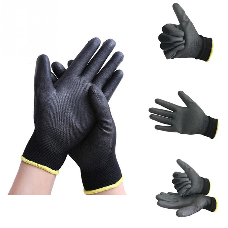2018 New Arrival 12 Pairs Black Polyester PU Anti-static Safety Work Gloves Builders Grip For Palm Coating Gloves