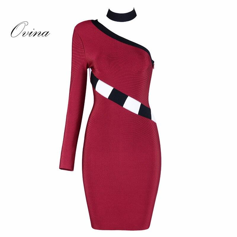 Vin rouge mode femmes robes une épaule à manches longues Bandage robe