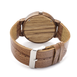 Image 4 - BOBO BIRD Wooden Quartz Men Watches Casual Leather Strap Analog Watch With Gift Box