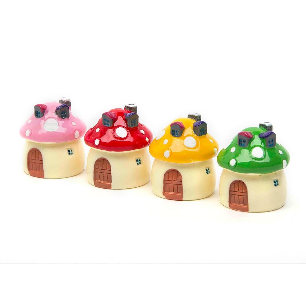 ∞Fairy Garden Miniatures Decoration Mushroom House Ornaments Resin ...