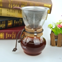Free shipping 3-4Cups Counted Chemex Style Coffee Dripper With Stainless Steel Coffee Basket