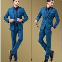 Классический высококачественный костюм мужской синий костюм воротник однобортный мужские деловые офисные suite (куртка + штаны + жилет) Польз