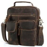 TIDING Cowhide Leather Satchel Cross Body Bag Vintage Style Small Tote Handbag Men Large Purse 1171