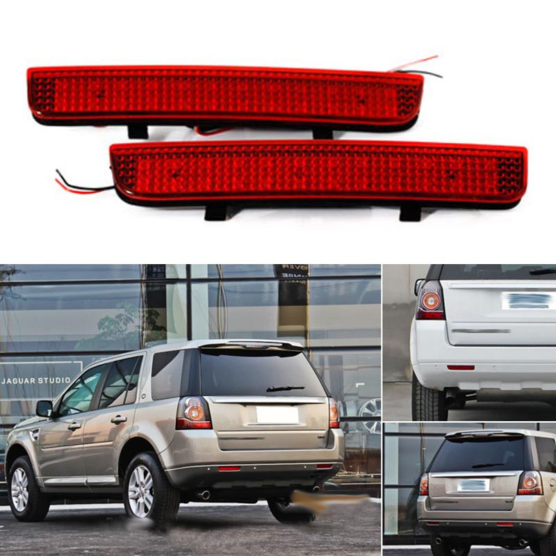 2pcs Car LED Rear Bumper Reflector Red Led Parking Warning Stop Brake Lights Tail Lamp For L322 Range Rover LR2 Freelander 2 carking 372 1 5w 150lm 700nm 23 led red rear bumper lights for toyota rav4 red 2 pcs 12v
