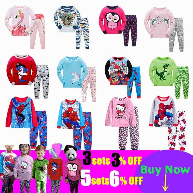 Children Casual Pajamas Clothing Set Boys & Girls Cartoon Sleepwear Suit Sets Kids Long-sleeved+Pant 2-Piece Cotton Pajamas Sets