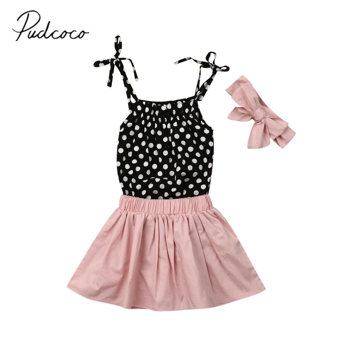 2019 Baby Sommer Kleidung Newborn Kid Baby Mädchen Rüschen Schlinge Dot Print Tops Mini Kleid Stirnband 3 Pcs Sets Outfits Kleidung 6-24 M Mild And Mellow